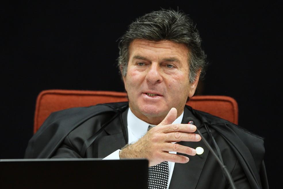 Ministro do STF Luiz Fux durante audiência da 1ª Turma do STF que recebeu denúncia contra o deputado estadual Ricardo Motta (PSB) — Foto: Nelson Jr./SCO/STF