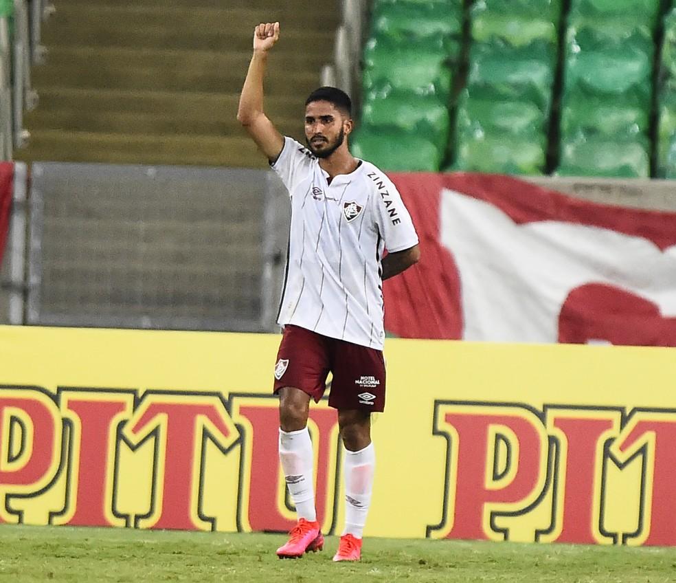 Igor Julião celebra gol sobre Flamengo — Foto: André Durão/ge