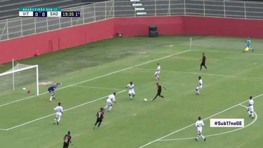 Hebert recebe e finaliza de chapa, mas bola passa ao lado do gol, aos 19' do 1º Tempo