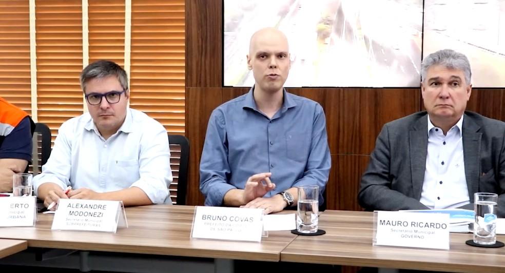 O prefeito de São Paulo, Bruno Covas (PSDB), em coletiva de imprensa em São Paulo. — Foto: Reprodução/TV Globo