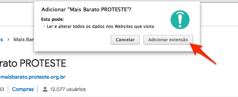 Ação para baixar e instalar a extensão Mais Barato PROTESTE para Chrome — Foto: Reprodução/Marvin Costa