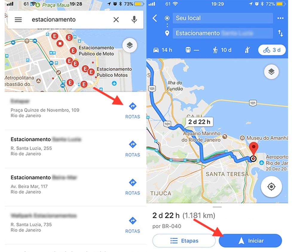 Ação para iniciar uma rota para um estacionamento com o Google Maps (Foto: Reprodução/Marvin Costa)
