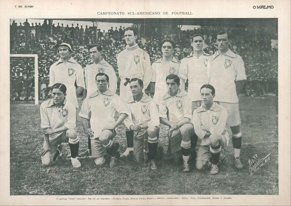 Com Copa América adiada, Seleção conquistou competição em 1919, no Rio de Janeiro — Foto: Reprodução/Revista O Malho