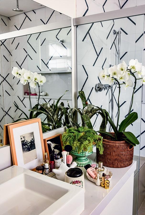 Plantas, quadros e produtinhos de beauté convivem no banheiro. Abaixo, os cristais que energizam a sala de estar (Foto: Romulo Fialdini)
