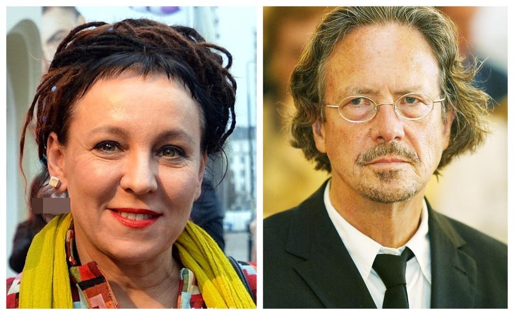 Vencedores dos prêmios Nobel de Literatura de 2018 (Olga Tokarczuk) e 2019 (Peter Handke) — Foto: Reprodução/Twitter Nobel Prize