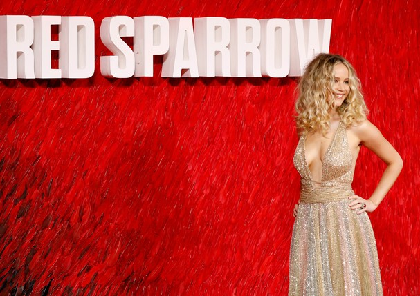 """LONDON, ENGLAND - FEBRUARY 19:  Jennifer Lawrence attends the """"Red Sparrow"""" European premiere at the Vue West End on February 19, 2018 in London, England.  (Photo by Tristan Fewings/Getty Images) (Foto: Getty Images)"""