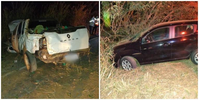 Carros batem durante ultrapassagem e duas pessoas ficam feridas na MGC-122