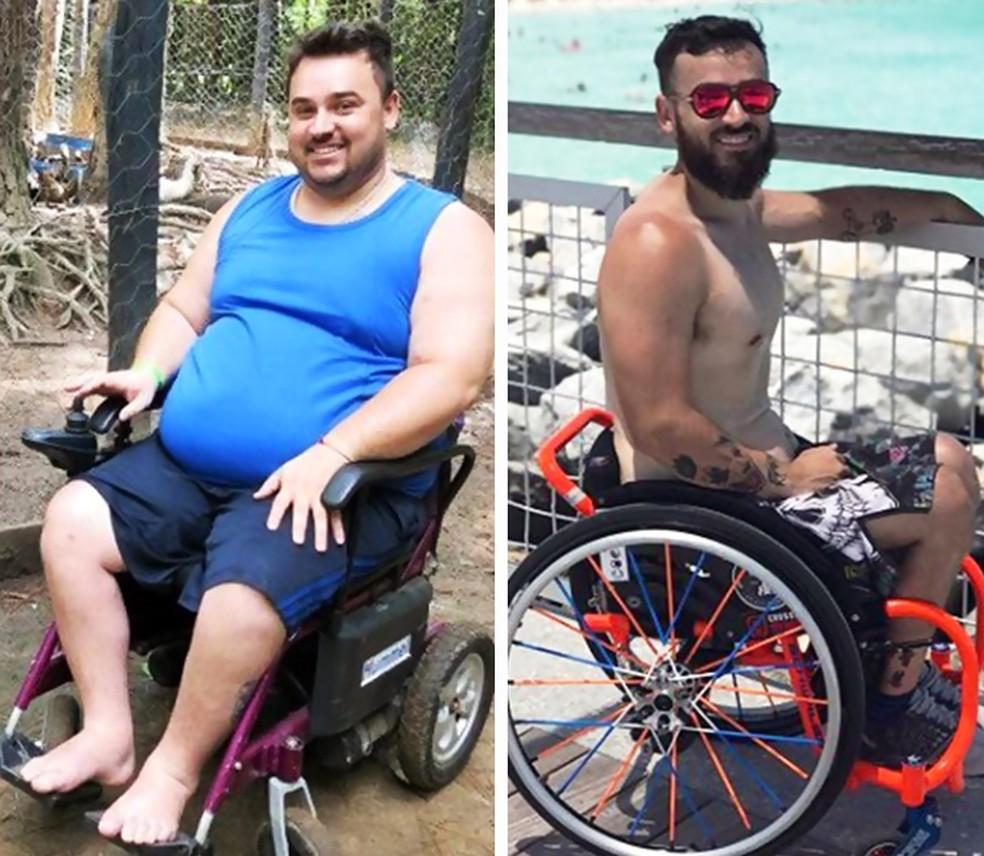 O antes e depois do Diego: mudança após cirurgia bariátrica e treinos de crossfit (Foto: Esporte Arte)