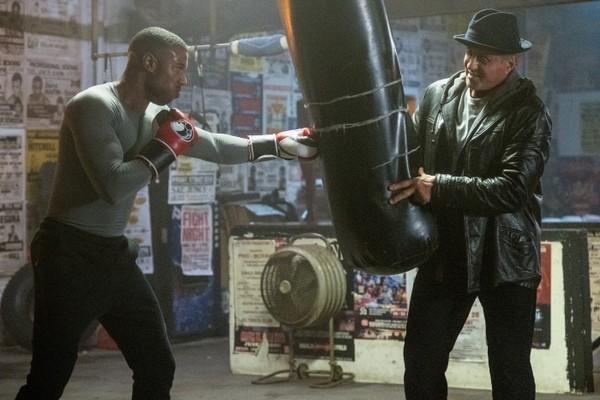 Michael B Jordan e Sylvester Stallon em cena de Creed II (Foto: Divulgação)