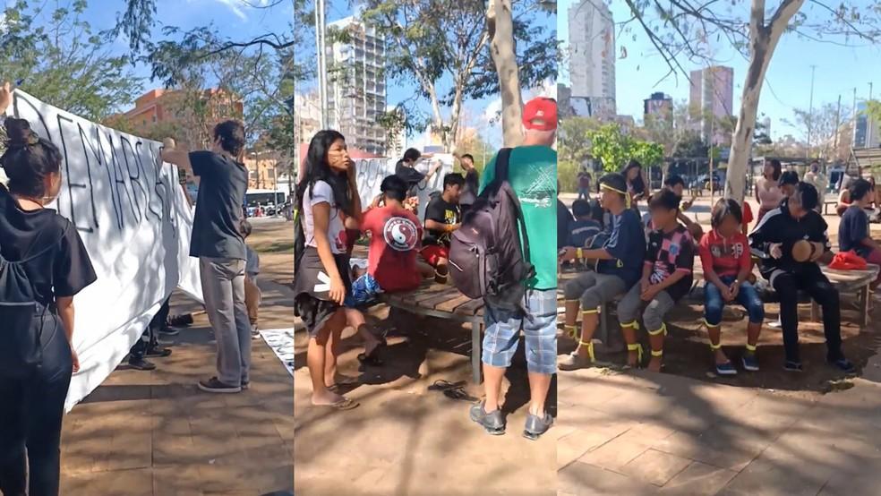 Ato público contra o marco temporal promovido por indígenas no Largo do Batata, na Zona Oeste de São Paulo — Foto: Reprodução