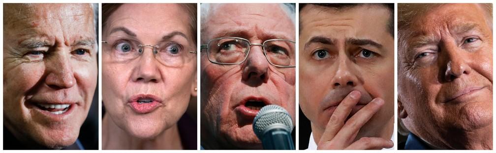 Da esquerda para direita: Joe Biden, Elizabeth Warren, Bernie Sanders, Pete Buttigieg, Donald Trump. — Foto: Fotos: Associated Press; montagem: G1
