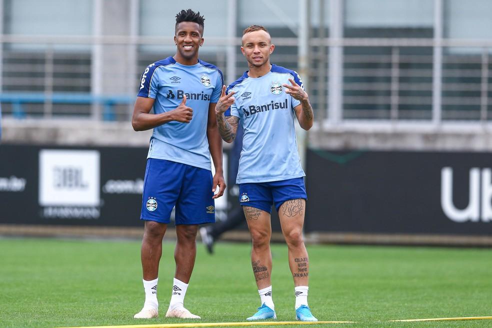 Bruno Cortez e Everton participaram das últimas duas semifinais — Foto: Lucas Uebel/Grêmio
