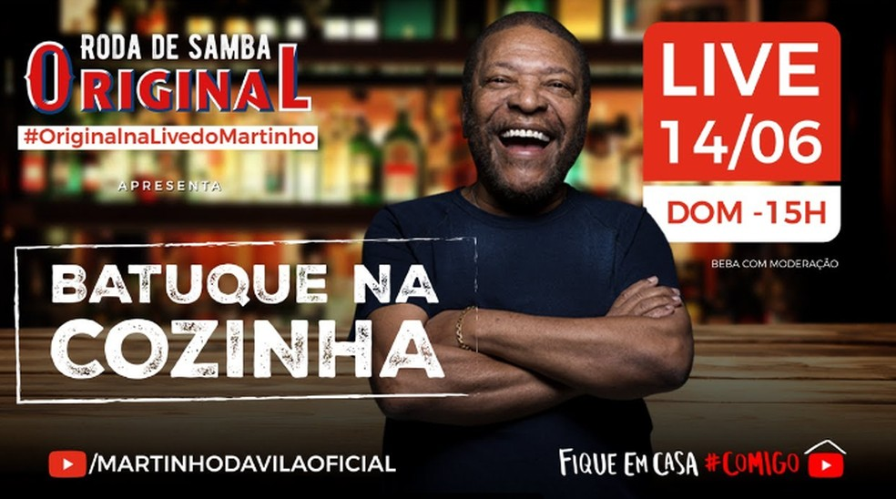 Batuque na Cozinha é o show online de Martinho da Vila — Foto: Reprodução / YouTube