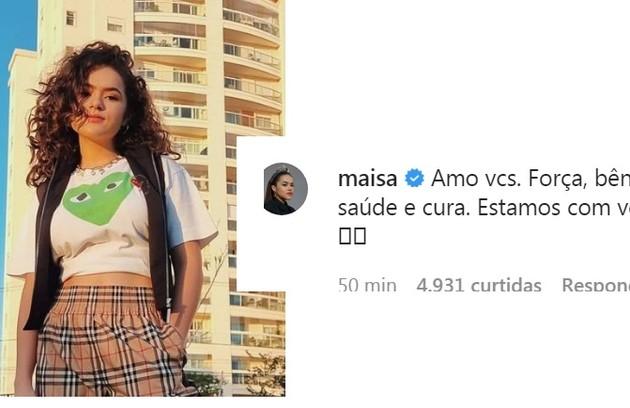 Maisa Silva publicou mensagem de consolo ao amigo (Foto: Reprodução)