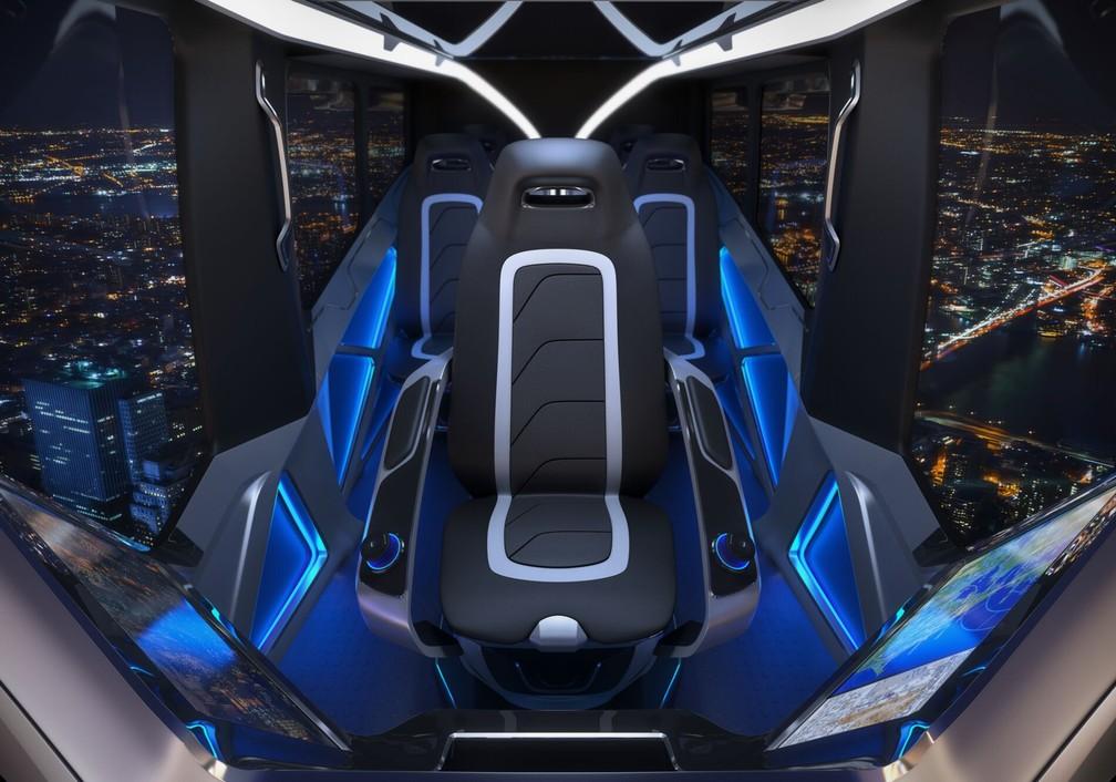 Interior do carro voador Bell Nexus — Foto: Bell/Divulgação