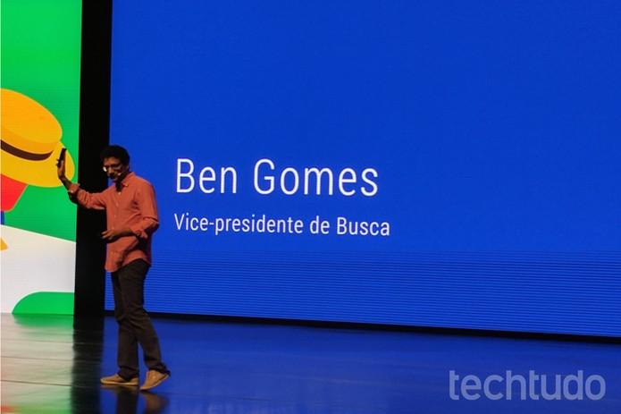 Vice-presidente de busca do Google anunciou a chegada do Google Assistente em português (Foto: Melissa Cruz/TechTudo)