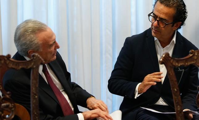 Ex-presidente Michel Temer e Elsinho Mouco