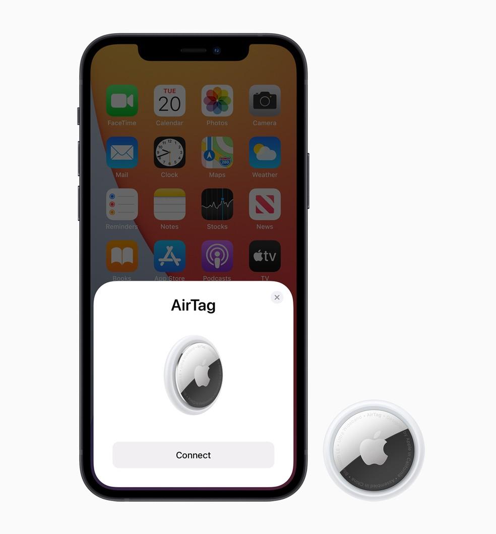 AirTag, acessório da Apple para encontrar objetos. — Foto: Divulgação/Apple