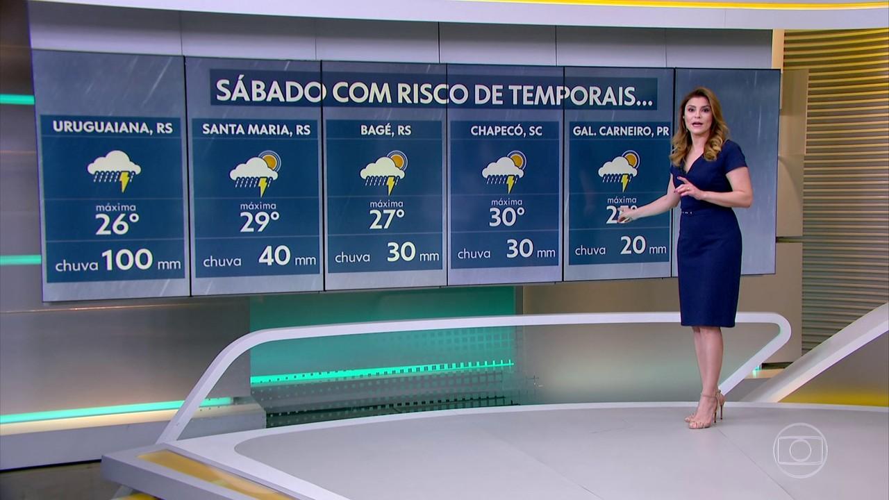 Região de Uruguaiana, no Rio Grande do Sul, tem risco de temporais com chuva volumosa