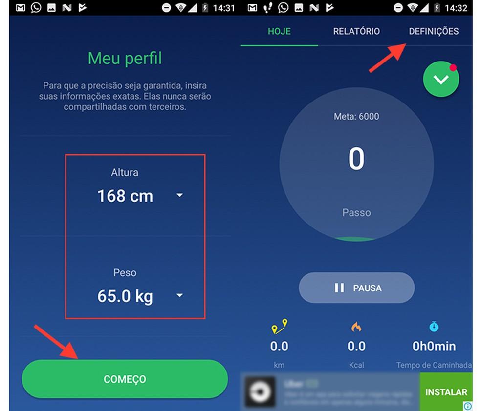 Configuração de altura e peso do app Pedômetro (Foto: Reprodução/Marvin Costa)