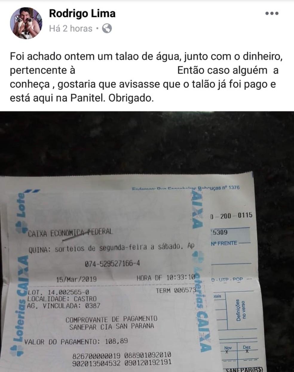 Homem fez post em rede social para tentar encontrar dona do boleto — Foto: Reprodução/Facebook