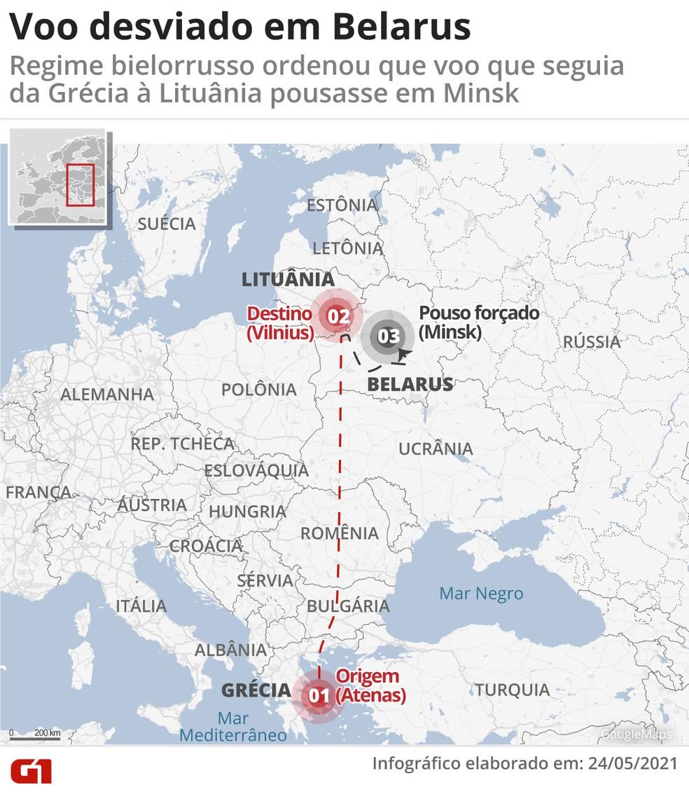 Mapa mostra o trajeto do avião que foi desviado para pousar na Belarus — Foto: Guilherme Pinheiro/Arte/G1