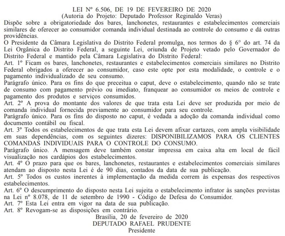 Medida consta no Diário Oficial do DF desta quarta — Foto: DODF/ Reprodução