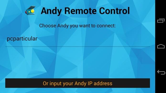 Andy Remote Control mostra o PC que está executando o emulador (Foto: Reprodução / Dario Coutinho)