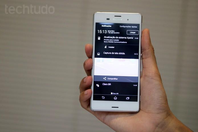 Imagem capturada aparece nas notificações do smartphone Xperia Z3 (Foto: Nicolly Vimercate/TechTudo)