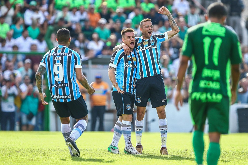 Ramiro e Luan com a camisa Grêmio — Foto: Lucas Uebel/Divulgação Grêmio
