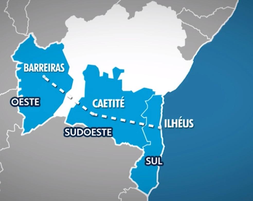 Trilhos passarão pela região oeste e leste, até chegar ao sul, no porto de Ilhéus — Foto: Reprodução/TV Bahia