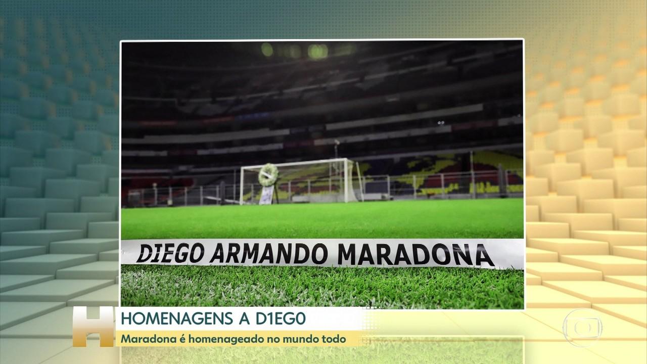 Maradona é homenageado no mundo todo