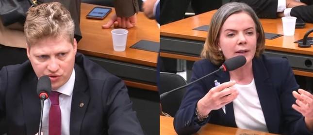 Os deputados Marcel van Hattem e Gleisi Hoffmann sem máscara na Câmara