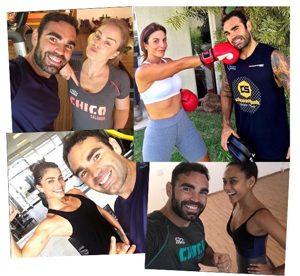 Chico com a clientela famosa: Angélica, Ivete Sangalo, Sabrina e Grazi (Foto: Reprodução / Instagram)