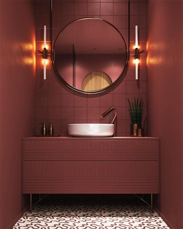 Décor do dia: lavabo vermelho monocromático (Foto: 2lgstudio/Reprodução)