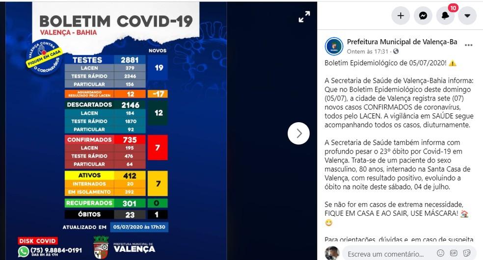Boletim de Valença divulgou óbito de Valdomiro nas redes sociais — Foto: Reprodução/Redes Sociais