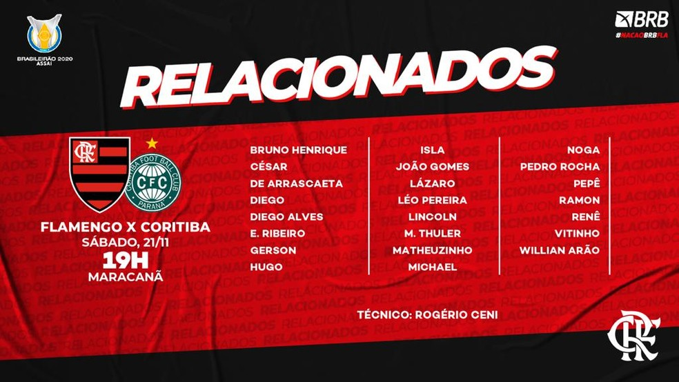 Relacionados Flamengo Coritiba — Foto: Divulgação