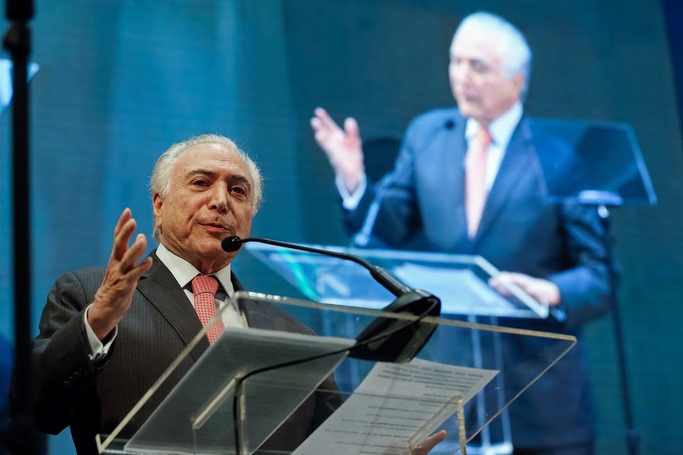Presidente Michel Temer durante discurso em Campinas (SP) nesta quarta-feira (14) — Foto: Cesar Itiberê/Presidência da República