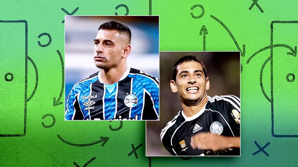 Diego Souza se destacava no Grêmio, foi para o Palmeiras e agora brilha novamente no Grêmio — Foto: ge
