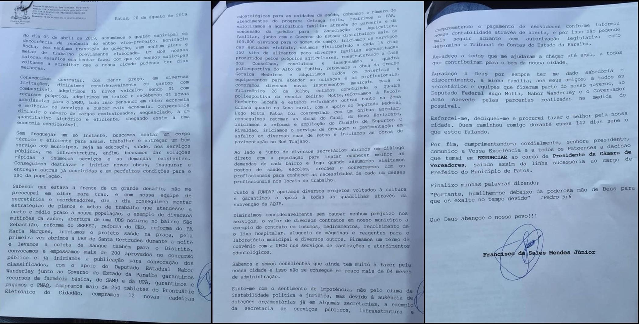 Prefeito em exercício de Patos, PB, Sales Júnior, renuncia ao cargo - Notícias - Plantão Diário