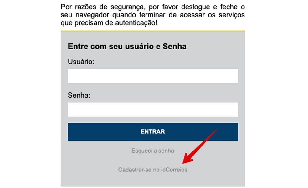 Faça cadastro no site dos Correios (Foto: Reprodução/Helito Bijora)