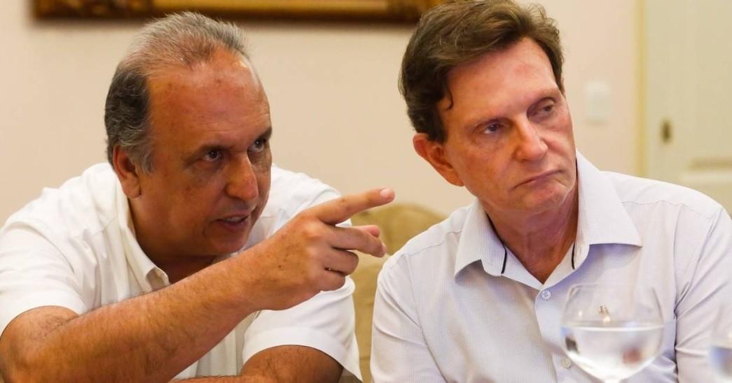 O governador Luiz Fernando Pezão e o prefeito Marcelo Crivella