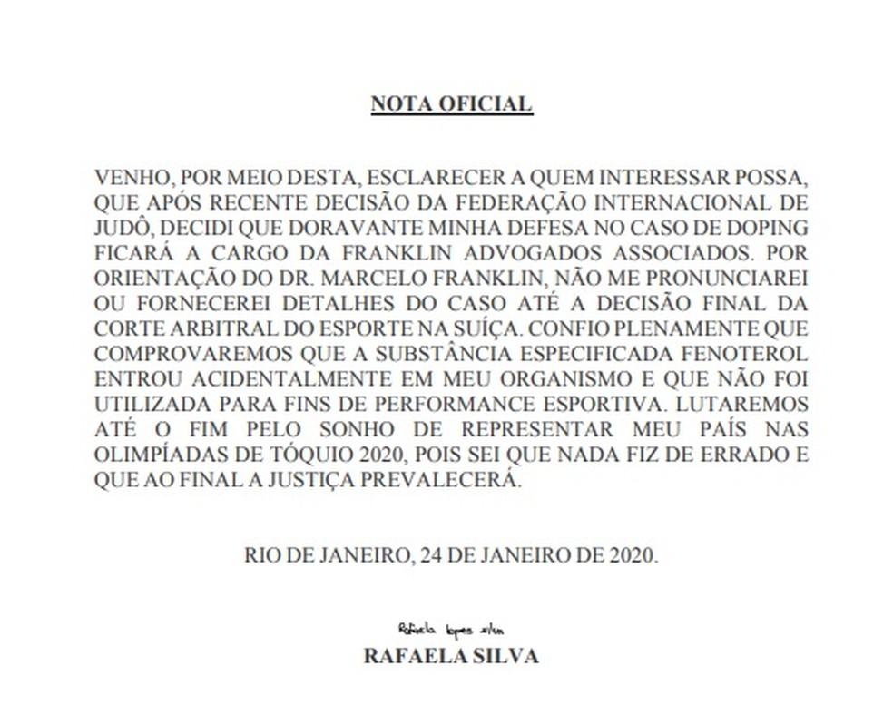 Rafaela Silva nota oficial — Foto: Reprodução