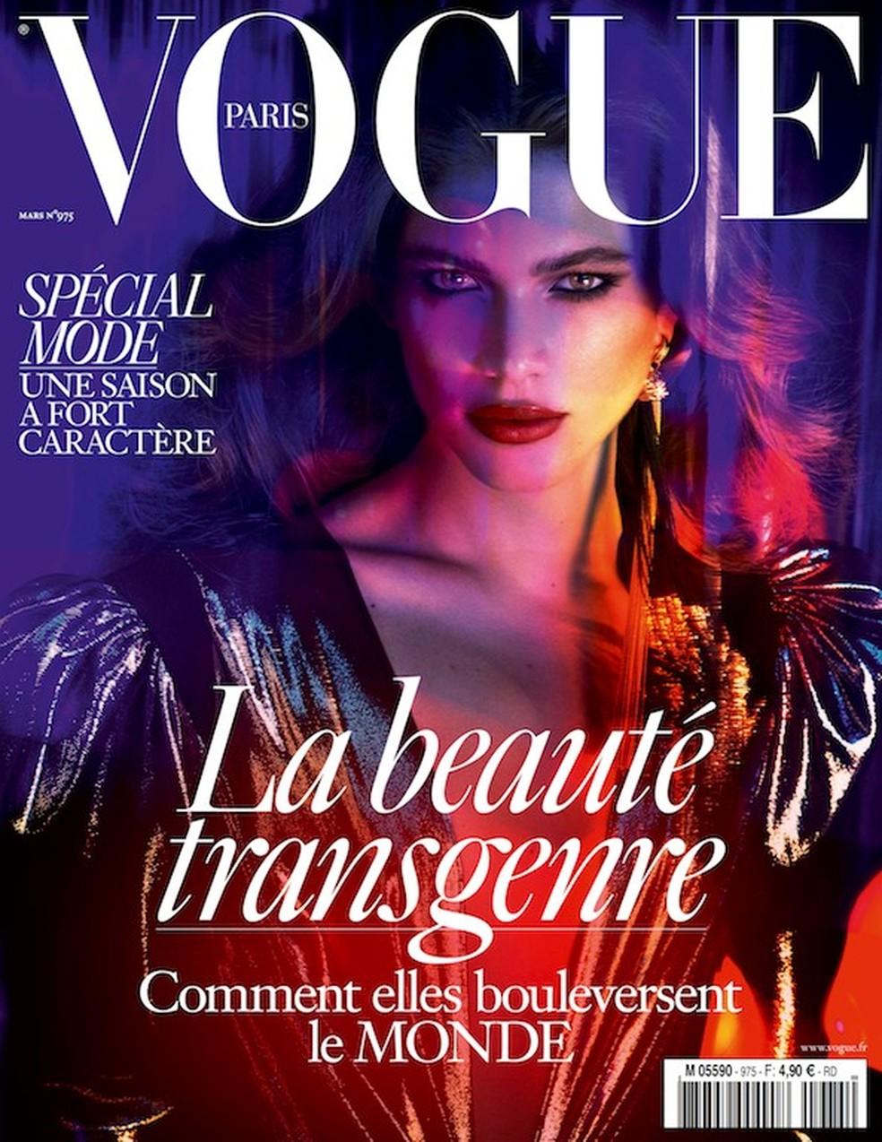 Valentina Sampaio Valentina foi também a primeira trans a ser capa da revista Vogue Paris, com uma matéria que tratava sobre a beleza transgênera. — Foto: Divulgação