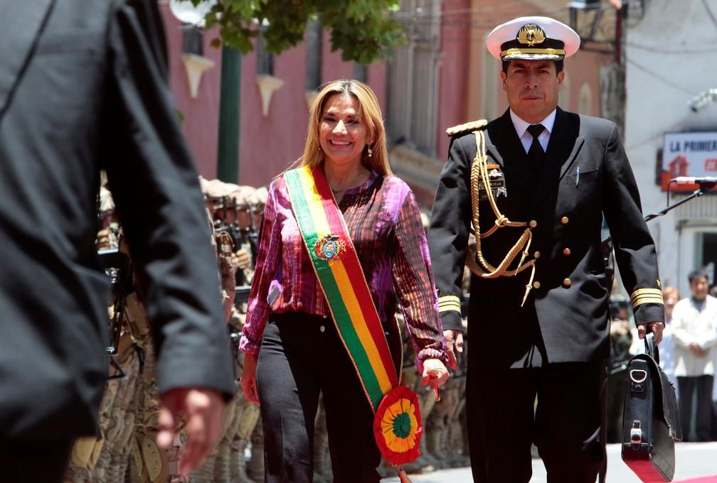 Jeanine Áñez durante uma cerimônia em La Paz, em 18 de novembro de 2019 — Foto: Manuel Claure/Reuters