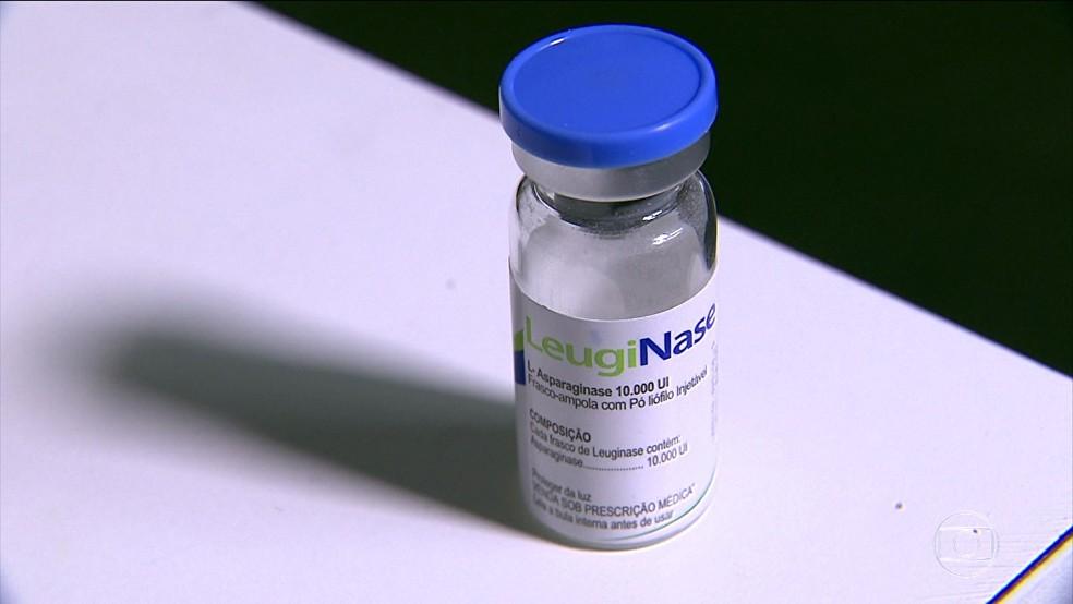 Frasco do medicamento LeugiNase, a asparaginase chinesa que teve a eficácia contestada pelo Centro Infantil Boldrini,e m Campinas (Foto: Reprodução/TV Globo)
