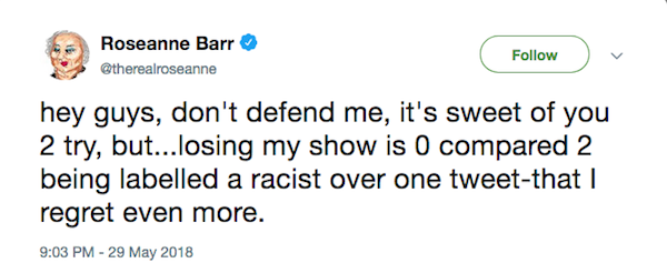 A mensagem na qual Roseanne Barr insiste em seu pedido de desculpas por sua declaração racista (Foto: Twitter)