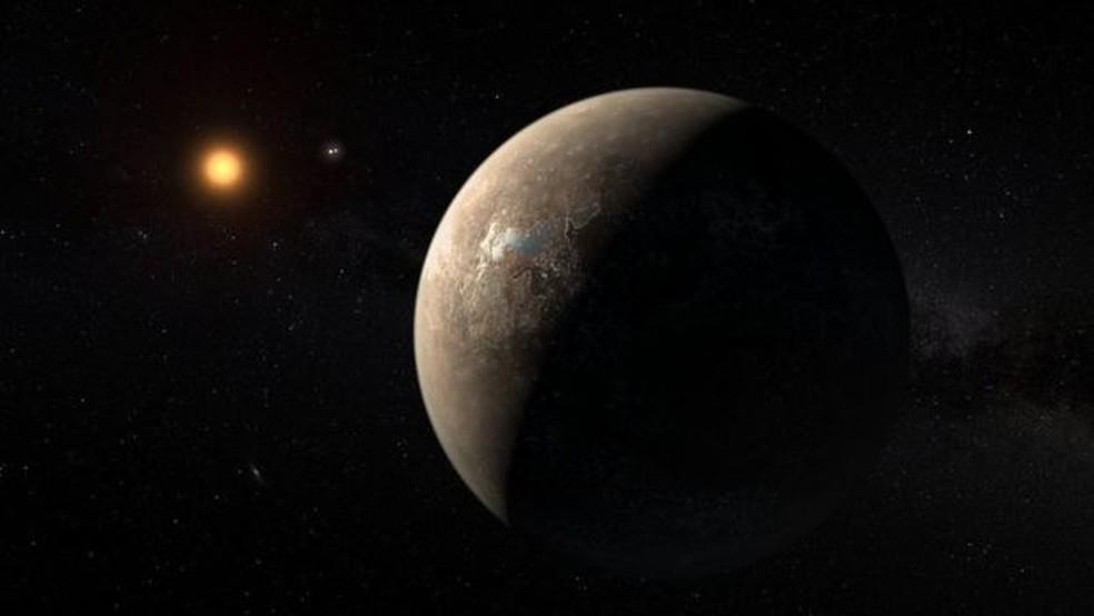 A Proxima Centauri é outra estrela anã vermelha que tem um exoplaneta rochoso em sua órbita, mas suas explosões solares tornam improvável que possa haver vida nos planetas ao seu redor — Foto: ESO/M. KORNMESSER