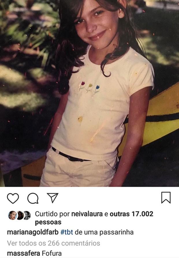 Mariana Goldfarb relembra foto de infância ganha elogio de Grazi Massafera (Foto: Reprodução)