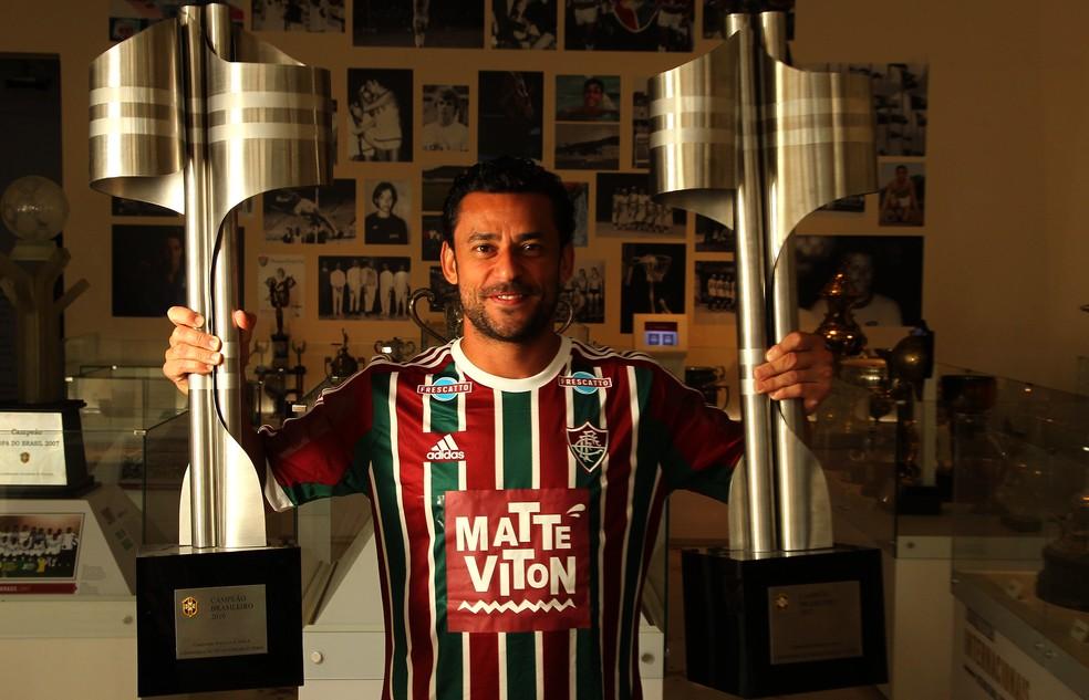 Fred foi bicampeão brasileiro pelo Fluminense, em 2010 e 2012 — Foto: Nelson Perez / FFC